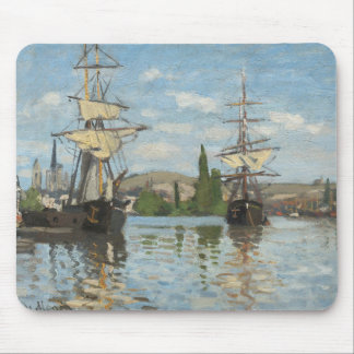Claude Monet Ships Riding on the Seine at Rouen Mouse Pad