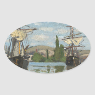 Claude Monet Ships Riding on the Seine at Rouen Oval Sticker