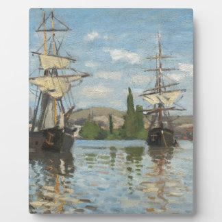 Claude Monet Ships Riding on the Seine at Rouen Plaque