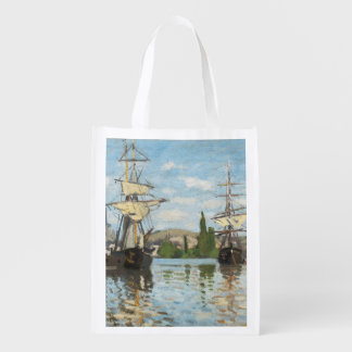 Claude Monet | Ships Riding on the Seine at Rouen Reusable Grocery Bag
