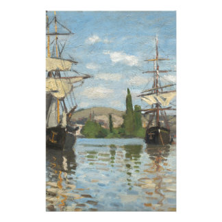 Claude Monet Ships Riding on the Seine at Rouen Stationery
