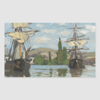 Claude Monet Ships Riding on the Seine at Rouen Sticker