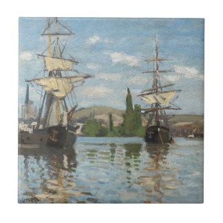 Claude Monet Ships Riding on the Seine at Rouen Tile
