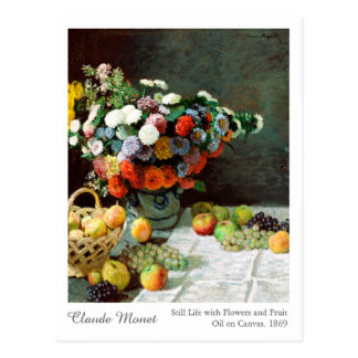 Claude Monet Still Life with Flowers and Fruit Postcard