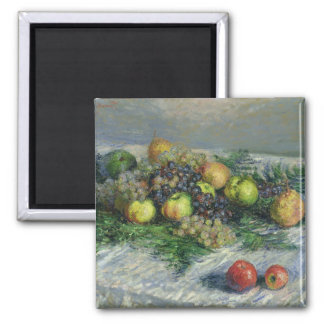 Claude Monet   Still Life with Pears and Grapes Square Magnet
