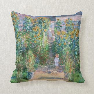 Claude Monet The Artist's Garden Painting Pillow