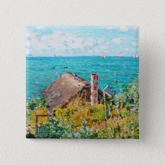 Claude Monet The Cabin At Saint-Adresse Fine Art 2 Inch Square Button