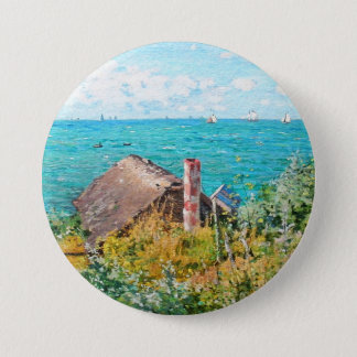 Claude Monet The Cabin At Saint-Adresse Fine Art 3 Inch Round Button