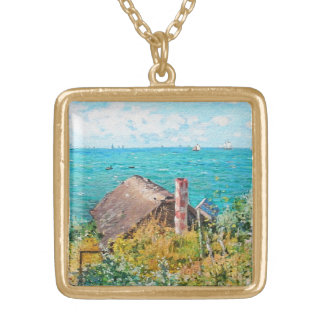 Claude Monet The Cabin At Saint-Adresse Fine Art Gold Plated Necklace