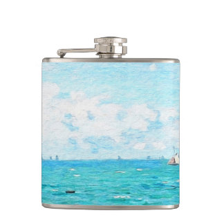 Claude Monet The Cabin At Saint-Adresse Fine Art Hip Flask