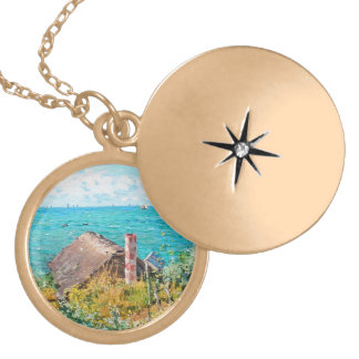 Claude Monet The Cabin At Saint-Adresse Fine Art Locket Necklace