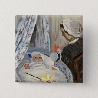 Claude Monet | The Cradle, Camille with Son Jean 2 Inch Square Button