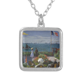 Claude Monet - The Garden at Sainte Adresse Art Silver Plated Necklace