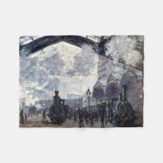 CLAUDE MONET - The Gare St-Lazare 1877 Fleece Blanket