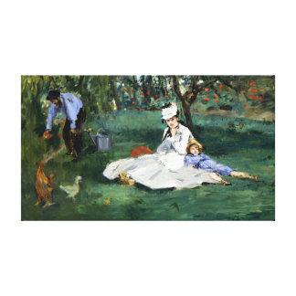 Claude Monet The Monet Family in Their Garden Canvas Print