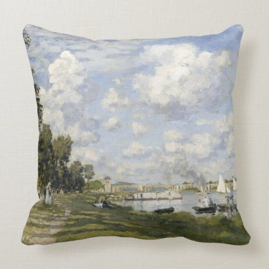 Claude Monet-The Port at Argenteuil Throw Pillow