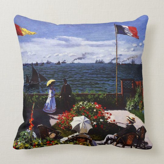 Claude Monet-The Terrace at Sainte-Adresse Throw Pillow