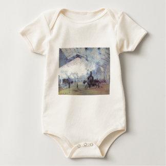 Claude Monet Train Station Popular Vintage Art Baby Bodysuit