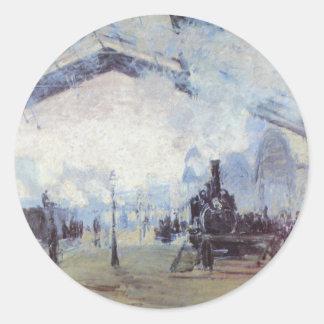 Claude Monet Train Station Popular Vintage Art Classic Round Sticker