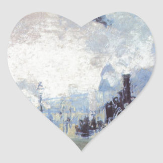 Claude Monet Train Station Popular Vintage Art Heart Sticker