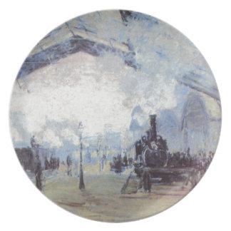 Claude Monet Train Station Popular Vintage Art Plate