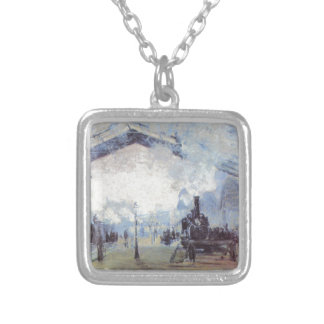 Claude Monet Train Station Popular Vintage Art Silver Plated Necklace