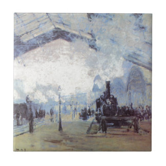 Claude Monet Train Station Popular Vintage Art Tile