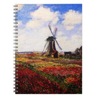 Claude Monet-Tulips Fields Spiral Notebook