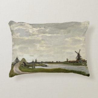 Claude Monet - Windmills Near Zaandam Decorative Pillow