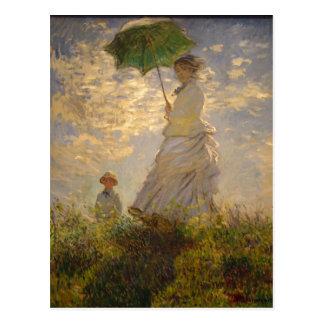 Claude Monet: Woman with a Parasol, 1875. National Postcard