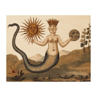 Clavis Artis Merman with Three Faces Large Wood Wall Decor