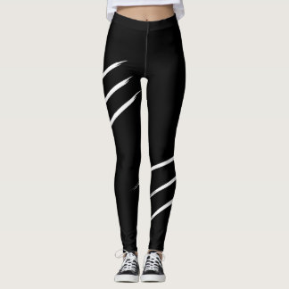 Claw marks, black and white, leggings