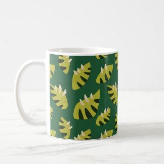 Clawed Abstract Green Leaf Pattern Coffee Mug