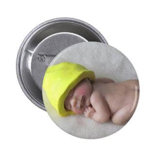 Clay Baby Sleeping on Tummy, Elf Hat, Sculpture 2 Inch Round Button