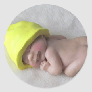 Clay Baby Sleeping on Tummy, Elf Hat, Sculpture Classic Round Sticker