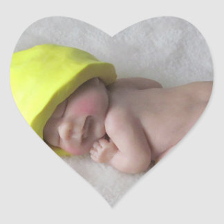 Clay Baby Sleeping on Tummy, Elf Hat, Sculpture Heart Sticker