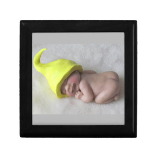 Clay Baby Sleeping on Tummy, Elf Hat, Sculpture Keepsake Box