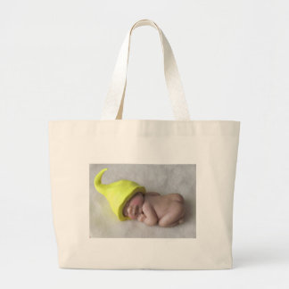 Clay Baby Sleeping on Tummy, Elf Hat, Sculpture Large Tote Bag