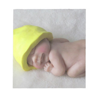 Clay Baby Sleeping on Tummy, Elf Hat, Sculpture Notepad