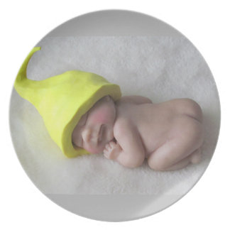 Clay Baby Sleeping on Tummy, Elf Hat, Sculpture Plate