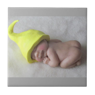 Clay Baby Sleeping on Tummy, Elf Hat, Sculpture Tile