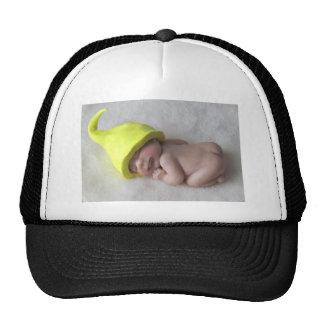 Clay Baby Sleeping on Tummy, Elf Hat, Sculpture Trucker Hat
