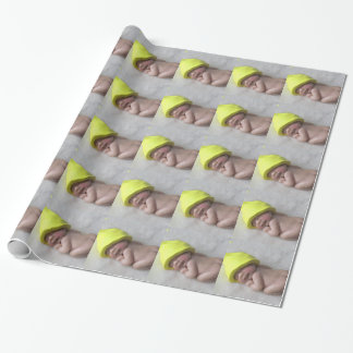 Clay Baby Sleeping on Tummy, Elf Hat, Sculpture Wrapping Paper