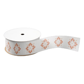 Clay on White Burst Design Ribbon Grosgrain Ribbon