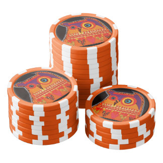 Clay Poker Chips/Orange Striped with Cool Owl Poker Chips