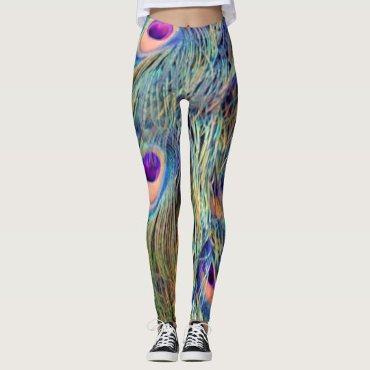 Clay Pottery Peacock Feathers Leggings
