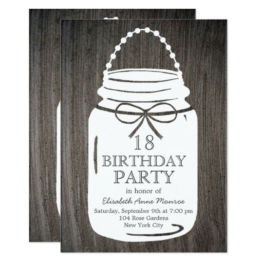 Clay Rustic Mason Jar 18th Birthday Card