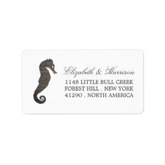 Clay Seahorse Beach Wedding Label
