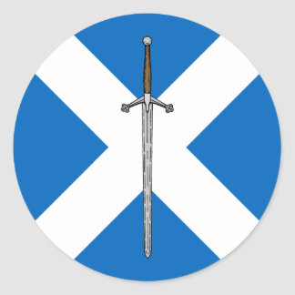 Claymore and Saltire Round Sticker