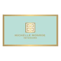 Clé grecque d'or élégant sur le dessinateur carte de visite standard